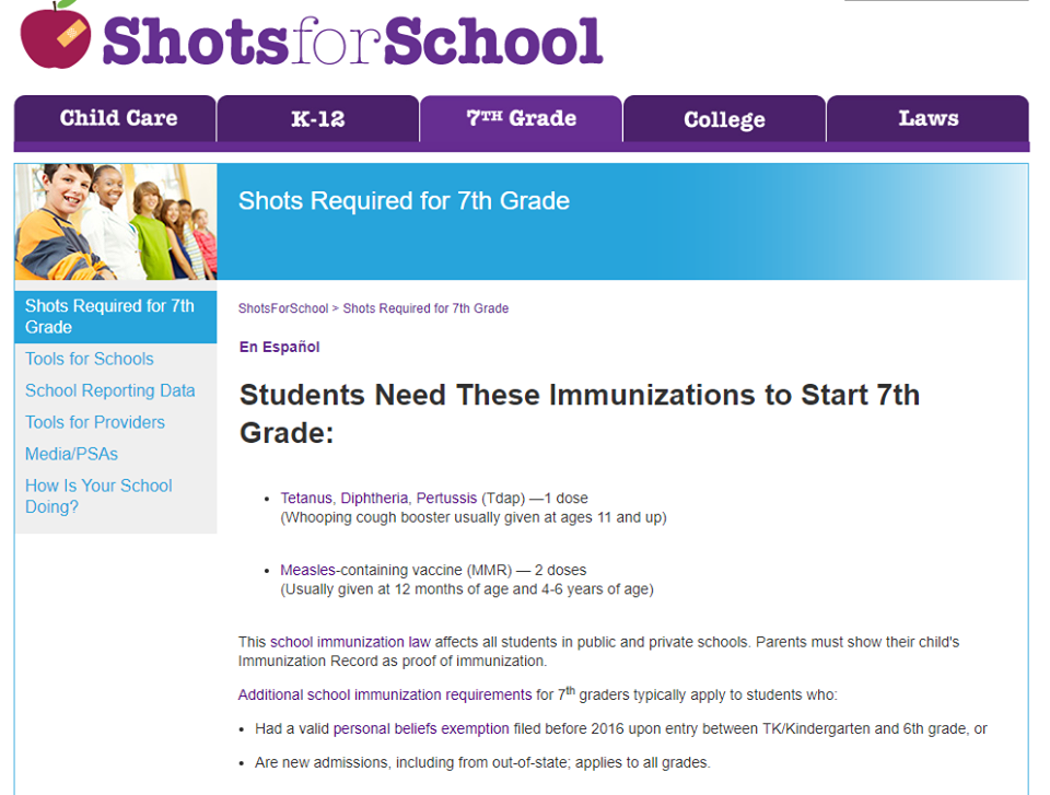 This is the image for the news article titled Back to School Vaccines
