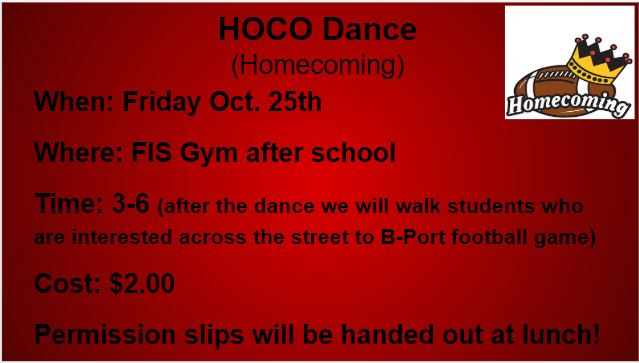 This is the image for the news article titled FIS Homecoming Dance & Exporter Football Game Walk